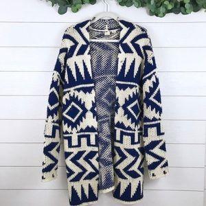 Roxy • Navy & White Aztec Knit Duster Cardigan